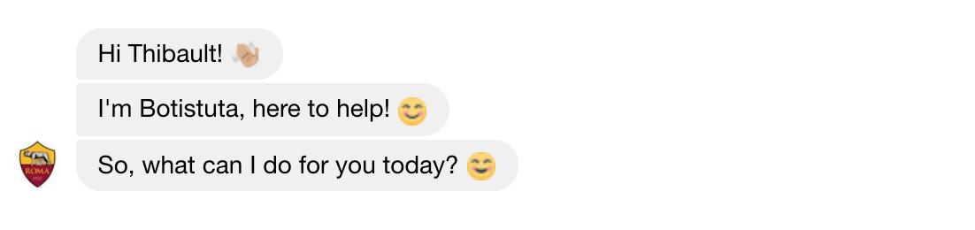 chatbot Facebook Messenger de l'AS Roma