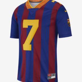 maillots de football américain aux couleurs du FC Barcelone